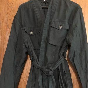 Military jacket with tie waist